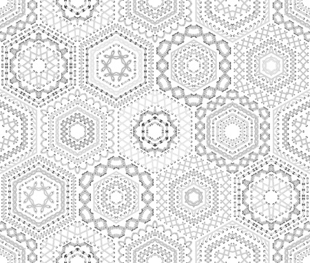 Seamless white embroidery pattern. Vector high detailed stitches. Ethnic textile hexagons boundless background.