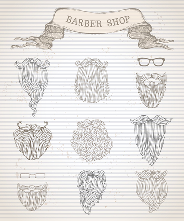 masculino: Vector barbas dibujado a mano conjunto. Ilustración lineal en el fondo de rayas de la vendimia. Vectores