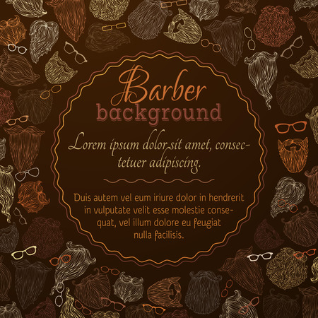 Hipster beards and eyeglasses background. Blond, brunet, dark-haired, ginger and grey-haired beards on dark background. There is place for your text in the center.
