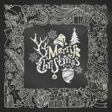 bonhomme de neige: Chalk cadre Joyeux No�l sur fond tableau. arbre de No�l et des boules de No�l, des cadeaux et des arcs, bonhomme de neige, bonhomme en pain, des cerfs, des cloches et des rubans, �toiles, tasse, bougie, de Santa chaussette, chapeau de P�re No�l, P�re No�l barbe et des lunettes, des baies de houx, te manuscrite