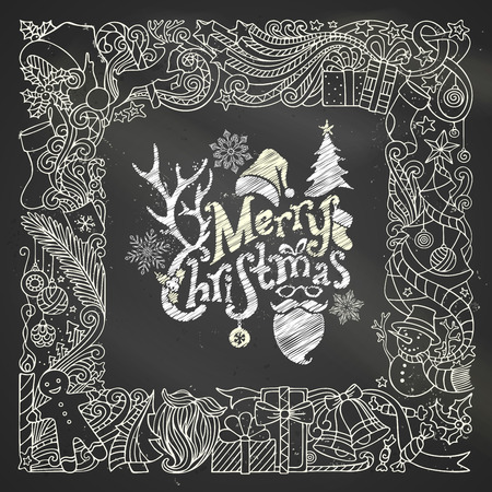 christmas snowflakes: Chalk Merry Christmas frame on blackboard background. Christmas tree and Christmas balls, gifts and bows, snowman, gingerbread man, deer, bells and ribbons, stars, cup, candle, Santa sock, Santa hat, Santa beard and glasses, holly berries, hand-written te