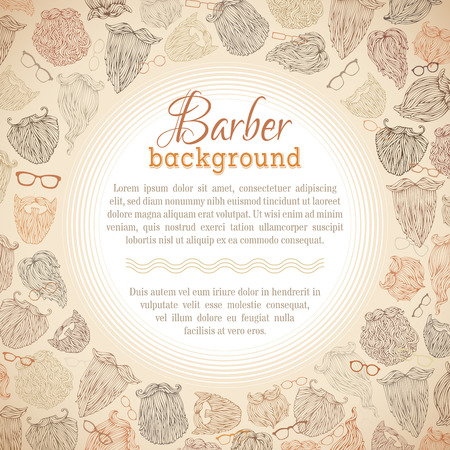 brunet: Hipster beards and eyeglasses vector background. Blond, brunet, dark-haired, ginger and grey-haired beards. There is place for your text in the center. Illustration