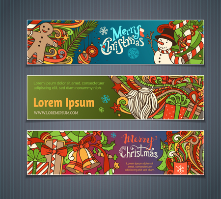 winterberry: Vector set of colorful Christmas banners. Christmas tree and baubles, Santa sock, hat and beard, mistletoe, gift boxes, snowman, swirls, gingerbread man, sweets, bells and ribbons, stars and cup, snowflakes and hand-written text. There is place for your t