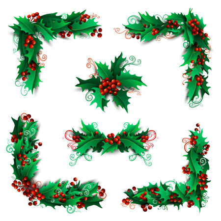 decoration: Set of Christmas holly berries design elements. Vector vintage corners, page decorations and dividers. Isolated on white background. Can be used for your Christmas invitations or congratulations.