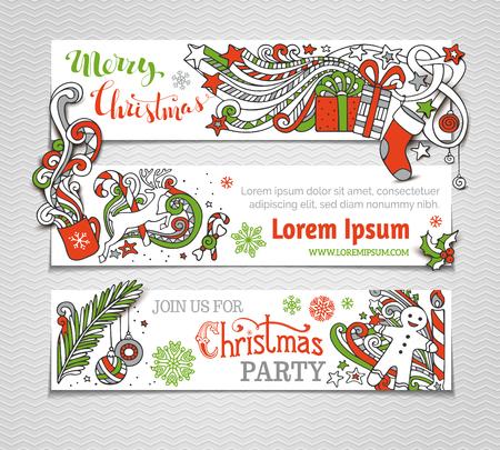 cajas navide�as: Conjunto de vectores de banderas rojas, verdes y blancas de Navidad. �rbol de Navidad y adornos, Santa calcet�n, sombrero y barba, mu�rdago, cajas de regalo, mu�eco de nieve, los remolinos y texto escrito a mano, hombre de pan de jengibre, dulces, campanas y cintas, copos de nieve, velas, las estrellas y la taza. Ah�