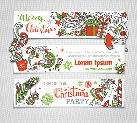cane: Vector set of red, green and white Christmas banners. Christmas tree and baubles, Santa sock, hat and beard, mistletoe, gift boxes, snowman, swirls and hand-written text, gingerbread man, sweets, bells and ribbons, snowflakes, candle, stars and cup. There Illustration