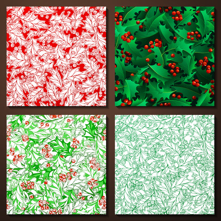 winterberry: Set of Christmas holly seamless patterns. Holly berries and leaves traditional Christmas decoration. Boundless background can be used for web page backgrounds, wallpapers, wrapping papers, invitation and congratulations. Illustration