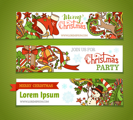 green swirl: Vector set of cartoon Christmas banners. Christmas tree and baubles, Santa sock and hat, holly berries, gifts, candy canes, snowman, swirls, deer, sweets, bells and ribbons, stars and hand-written text. There is place for your text on white area.