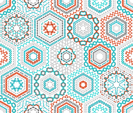 boundless: Seamless hexagons embroidery pattern. Vector high detailed stitches on white background. Red, blue, grey boundless background.
