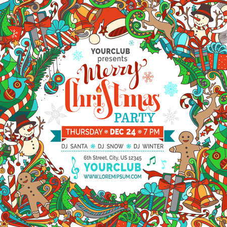 Merry Christmas Party Template. Christmas tree and baubles, snowman, gingerbread man, deer, bells and ribbons, Santa sock, hat and beard, holly berries, candy cane, hand-written text. There is place for your text in center. Ilustração