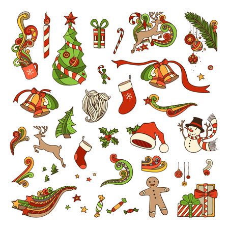 winterberry: Vector set of Christmas objects. Christmas tree and baubles, Santa sock, hat and beard, gifts, candy canes, snowman, swirls, gingerbread man, deer, bells and ribbons, stars, cup, candle, holly berries isolated on white background.