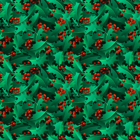 boundless: Seamless ilex pattern. Vector traditional Christmas decoration plants on boundless background.