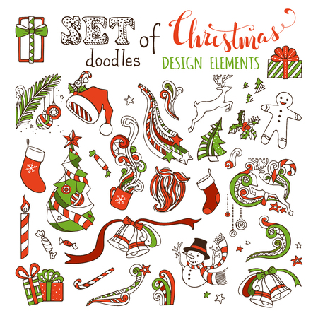 winterberry: Vector set of doodles Christmas design elements. Christmas tree and baubles, Santa sock, hat and beard, gifts, candy canes, snowman, swirls, gingerbread man, deer, bells and ribbons, stars, cup, candle, holly berries. Isolated on white background.
