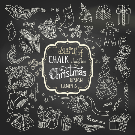 Vector set of chalk Christmas design elements. Christmas tree and baubles, Santa sock, hat and beard, gifts, candy canes, snowman, swirls, gingerbread man, deer, bells and ribbons, stars, cup, candle, holly berries on blackboard background.