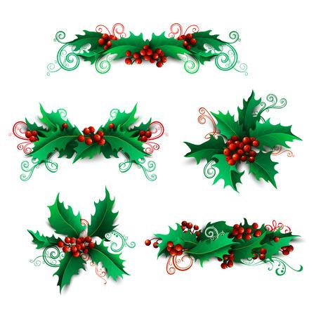 muerdago: Conjunto de vectores de bayas del acebo elementos de dise�o. Adornos y separadores de p�ginas de Navidad aislados sobre fondo blanco. Se puede utilizar para sus invitaciones o felicitaciones de Navidad. Vectores