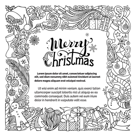 winterberry: Ornate Merry Christmas doodles frame. Christmas tree and Christmas balls, gifts and bows, snowman, gingerbread man, deer, bells and ribbons, stars, cup, candle, Santa sock, Santa hat, Santa beard and glasses, holly berries, hand-written text. Duotone outl
