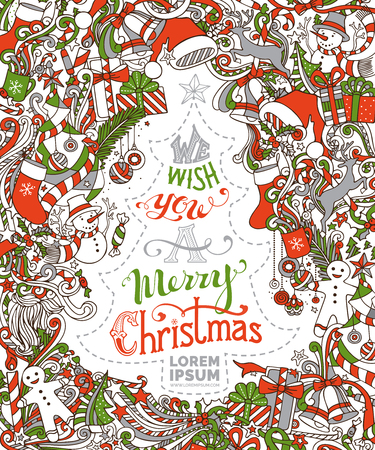 We Wish You a Merry Christmas! Christmas tree and baubles, snowman, gingerbread man, deer, bells and ribbons, Santa sock, hat and beard, holly berries, candy cane, hand-written text. Stock Illustratie