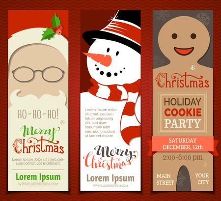 Set of Christmas banners. Vector Christmas templates with Santa face, snowman and gingerbread man. There is place for your text.