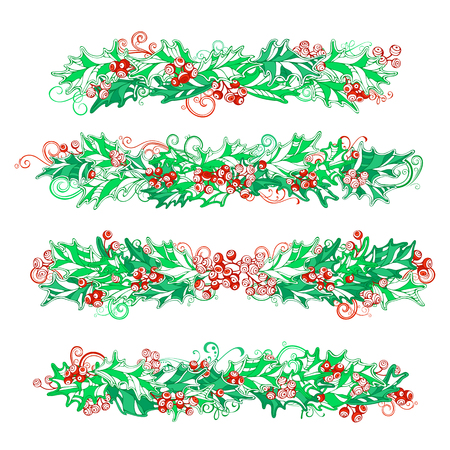 winterberry: Set of holly berries page decorations and dividers. Christmas vintage design elements isolated on white background. Can be used for your Christmas invitations or congratulations. Illustration