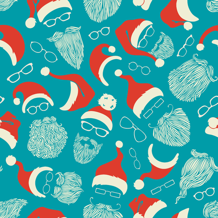 beard man: Seamless pattern of Santa hats, moustache, beards and eyeglasses. Vector red, white and blue illustration. Boundless background can be used for web page backgrounds, wallpapers, wrapping papers, invitation and congratulations.