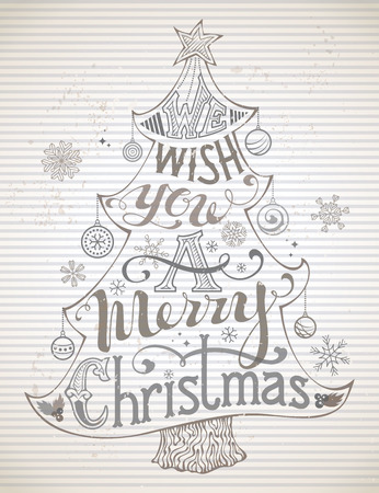 winterberry: We Wish You a Merry Christmas! Christmas tree and Christmas baubles on striped vintage background. Hand-written text.