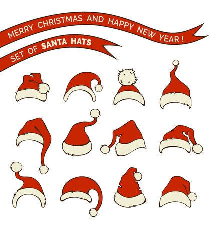 pompon: Vector set of Santa hats. Various doodles Santa hats isolated on white background.