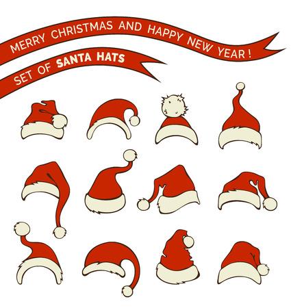Santa: Vector set of Santa hats. Various doodles Santa hats isolated on white background.