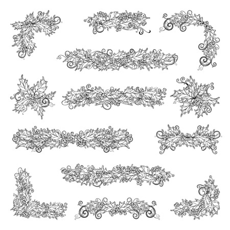 winterberry: Set of holly berries page decorations and dividers. Vector outlined Christmas design elements isolated on white background. Can be used for your Christmas invitations or congratulations.
