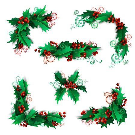 muerdago: Conjunto de acebo decoraciones página bayas y divisores. Navidad elementos de diseño vintage aislados sobre fondo blanco.