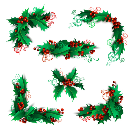 Set of holly berries page decorations and dividers. Christmas vintage design elements isolated on white background.