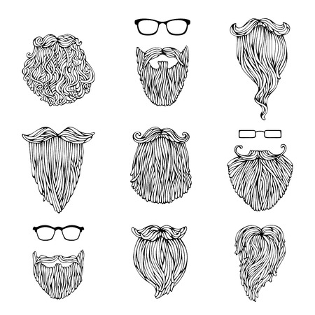 black head and moustache: Vector set of hipster beards and eyeglasses. Fashion sketch illustration isolated on white background.