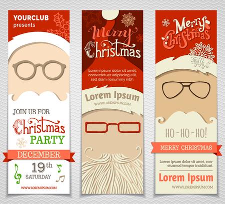 vidro: Ho! Ho! Ho! Jogo de Papai banners. Vector Christmas modelos verticais. Há lugar para seu texto.