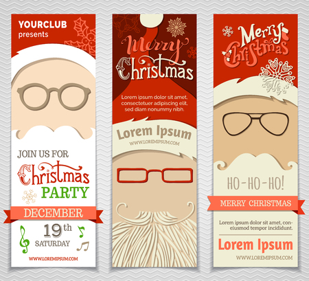 wearing spectacles: Ho! Ho! Ho! Set of Santa banners. Vector Christmas vertical templates. There is place for your text.
