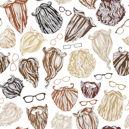 red haired person: Seamless pattern of fashion man beards and eyeglasses. Blond, brunet, dark-haired, ginger and grey-haired beards on white background. Hand-drawn vector boundless background. Illustration