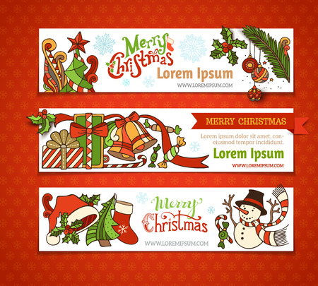 christmas bauble: Vector set of Christmas horizontal banners. Cartoon Christmas tree and baubles, Santa sock and hat, holly berries, gifts, candy canes, snowman, swirls, sweets, bells and ribbons, stars and hand-written text. There is place for your text on white area.