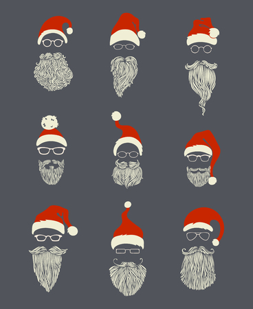 pompon: Vector set of Santa hats, moustache and beards. Various doodles Christmas Santa design elements. Illustration