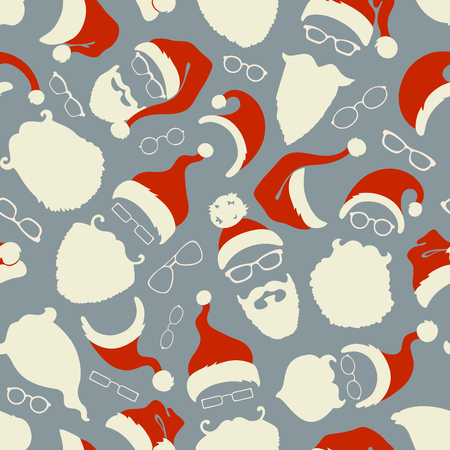 eyeglass: Seamless pattern of Santa hats, beards and eyeglasses. Hand-drawn Christmas illustration. Boundless background can be used for web page backgrounds, wallpapers, wrapping papers, invitation and congratulations.