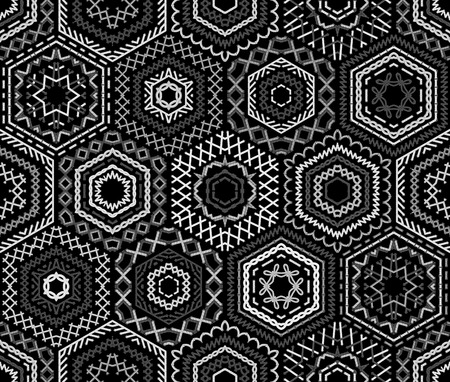 boundless: Seamless black and white embroidery pattern. Ethnic textile boundless background. Vector high detailed stitches. White embroidered hexagons on black background.