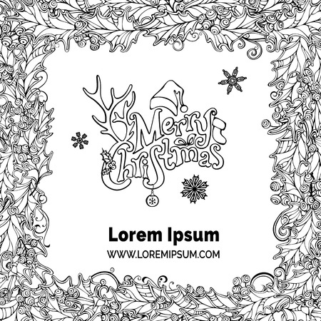 winterberry: Merry Christmas frame. Vector holly berries black and white background. There is place for your text on white background in the center.