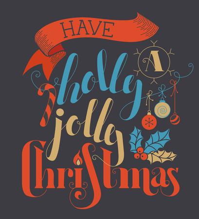 moños navideños: Tener una Navidad alegre del acebo! letras, bastón de caramelo, adornos de Navidad, la cinta y el acebo bayas plana escrito a mano sobre un fondo oscuro. Rojo, azul, oscuro Ilustración gris y oro.