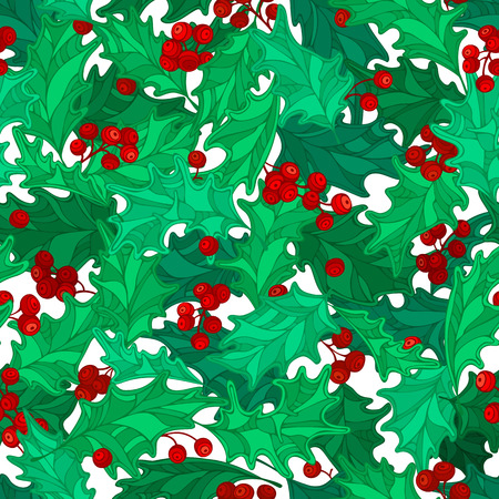 ilex: Vector holly berries seamless pattern. Cartoon mistletoe red and green decorative boundless background. Christmas ornament.