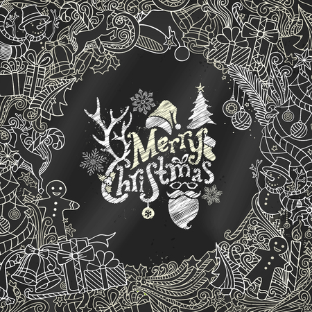 Chalk Merry Christmas background. Christmas tree and baubles, snowman, gingerbread man, deer, bells and ribbons, Santa sock, hat and beard, holly berries, candy cane. There is place for your text in center.