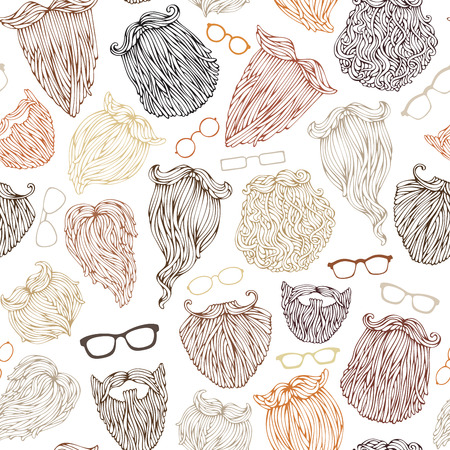 eyeglass: Vector seamless pattern of various beards and eyeglasses. Blond, brunet, dark-haired, ginger and grey-haired beards on white background. Doodles boundless background.