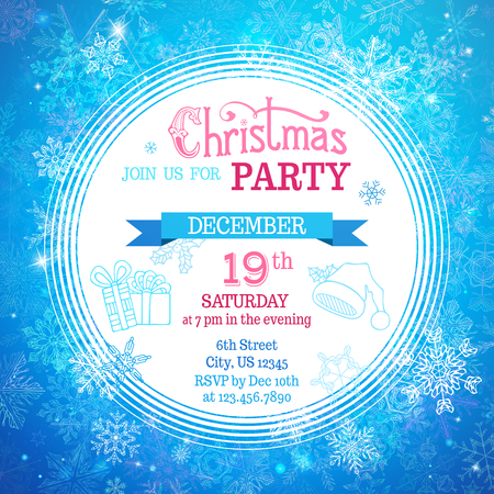 holiday invitation: Merry Christmas party template. Blue winter background. There is place for your text on white area in the center.