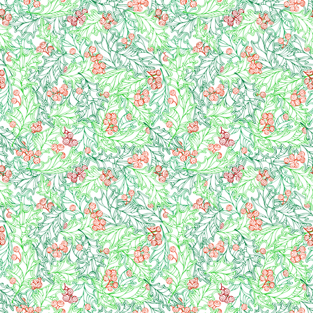 ilex: Christmas ilex seamless pattern. Hand-drawn traditional Christmas decoration. Boundless background can be used for web page backgrounds, wallpapers, wrapping papers, invitation and congratulations.