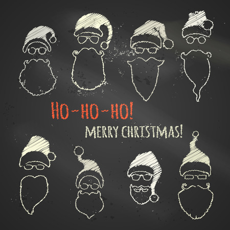 pompon: Set of chalk Santa hats and beards. Various Christmas design elements on blackboard background.