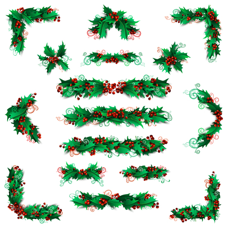 winterberry: Set of holly berries page decorations and dividers. Christmas vintage design elements isolated on white background.