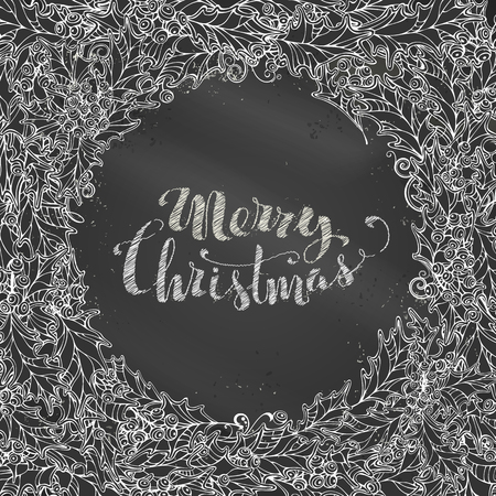 ilex: Chalk Merry Christmas background. Vector chalk holly berries round frame on blackboard background. There is place for your text in the center.