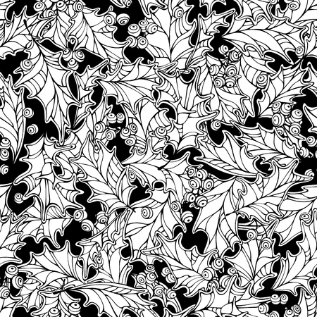 boundless: Christmas mistletoe seamless pattern. Black and white holly berries and leaves Christmas decoration. Boundless background can be used for web page backgrounds, wallpapers, wrapping papers, invitation and congratulations.