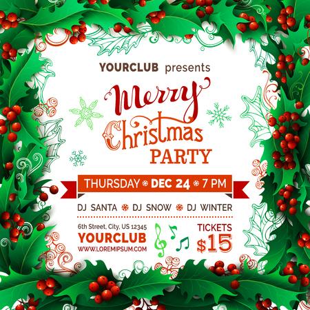 Frohe Weihnachten Musik.Frohe Weihnachten Musik Party Vorlage Vector Holly Beeren